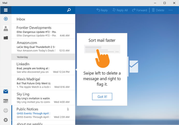 Arranging personal email in windows 10