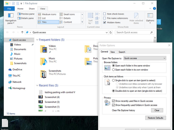 Disabling quick access in file browser in windows 10