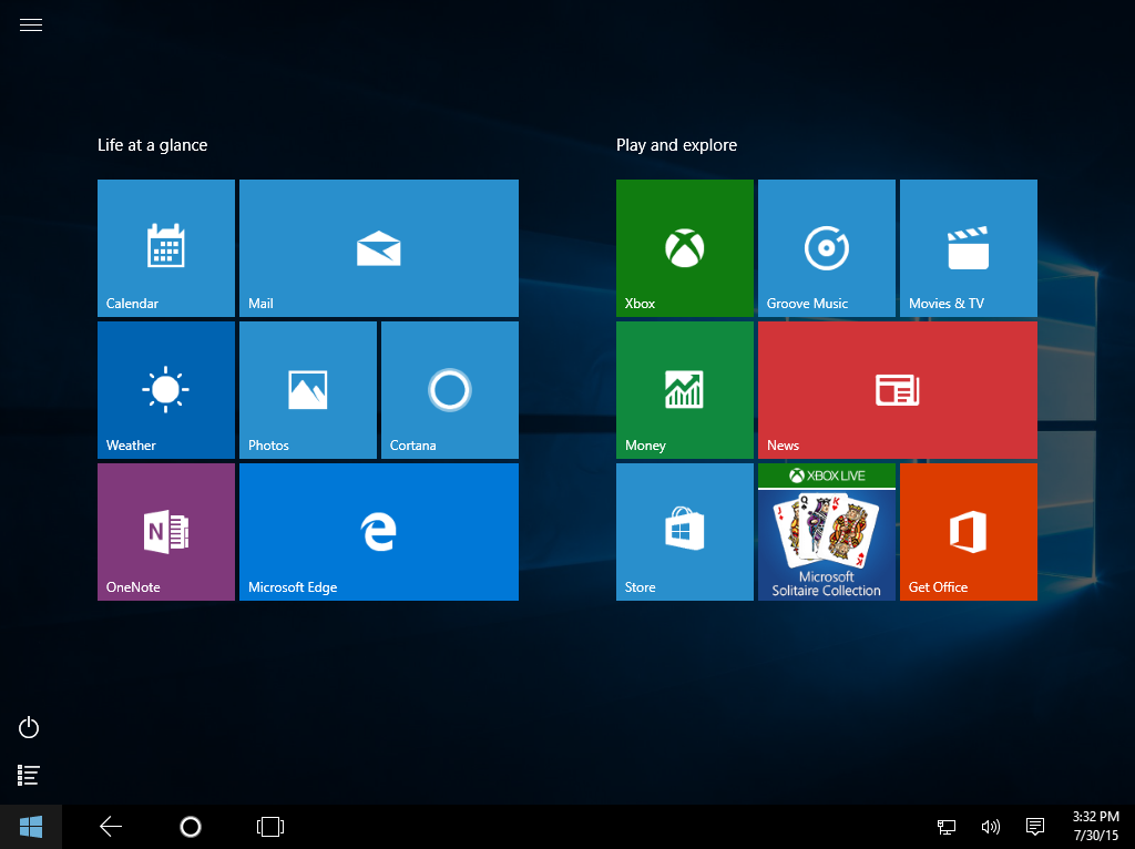 Tablet mode customization in Windows 10