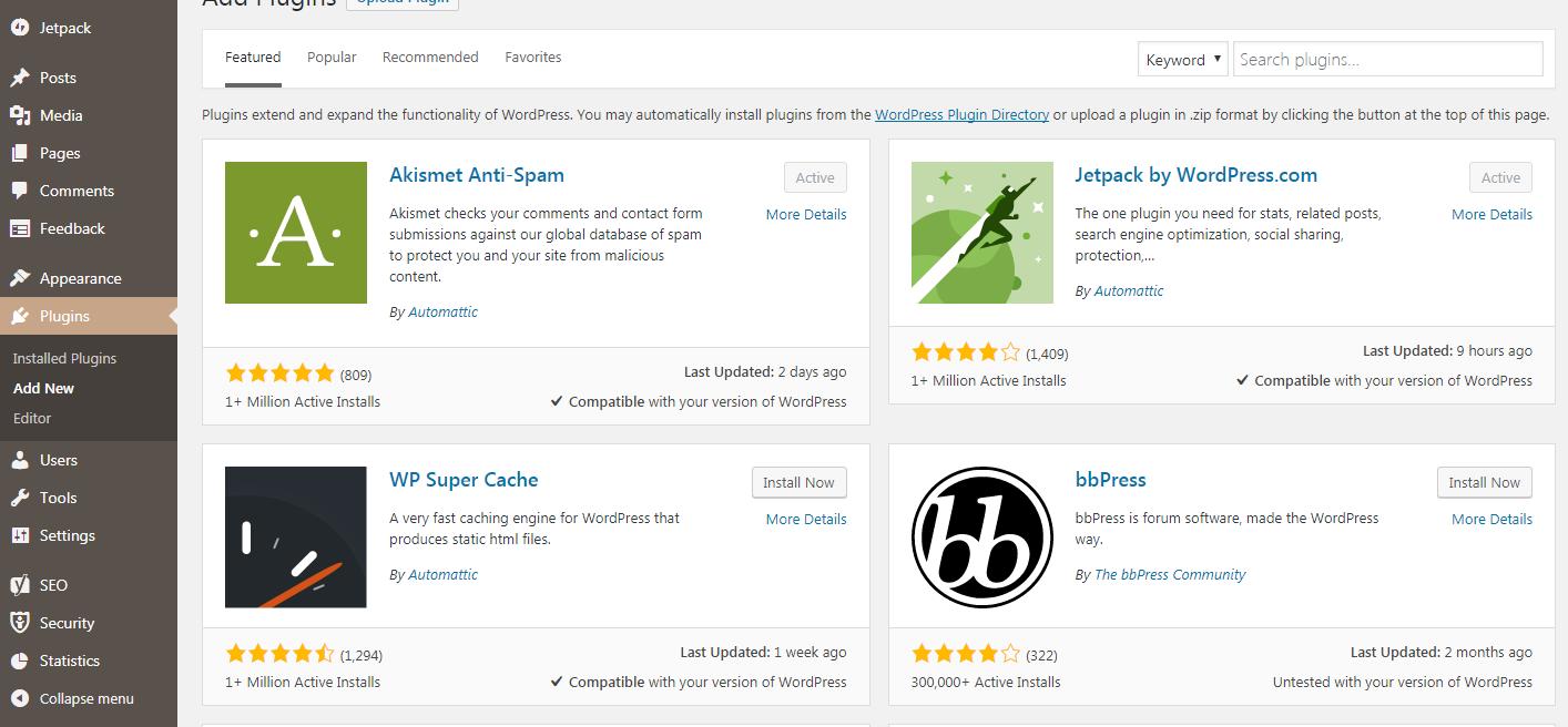 Install a Plugin via WordPress Plugin Search